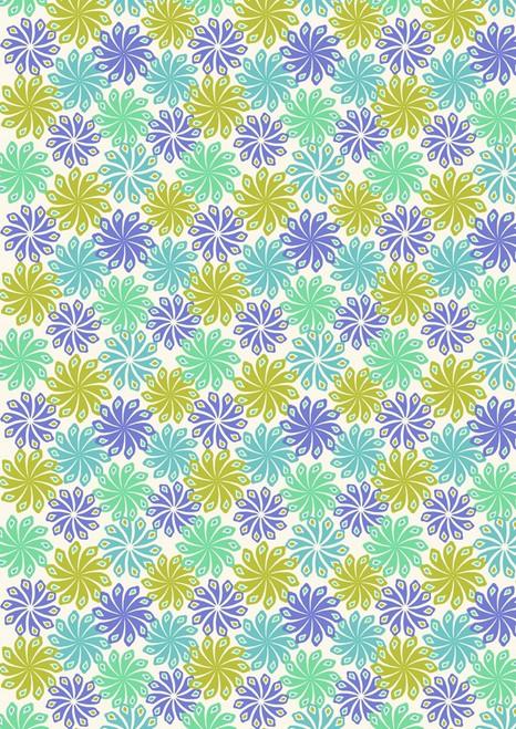 BLUE, AQUA, GREEN AND GOLD PINWHEELS ON WHITE FABRIC
