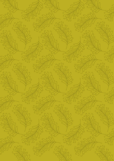 SEPIA FEATHERS ON GOLDEN GREEN FABRIC