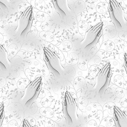 Praying Hands in Gray on White Background with Gray Vines
