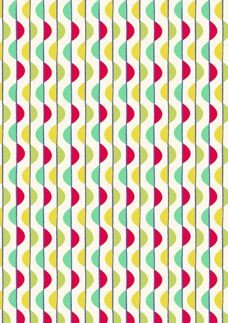 GREEN & AQUA AND RED & YELLOW BUBBLE STRIPES FABRIC