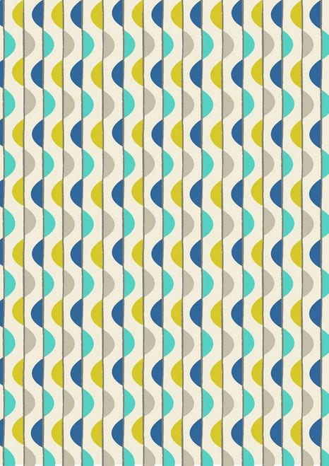 BLUE & GRAY AND AQUA & GOLD BUBBLE STRIPES FABRIC