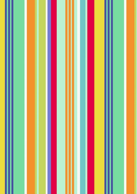 GREEN, BLUE, YELLOW, AQUA, WHITE AND GOLD STRIPES FABRIC