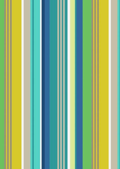AQUA, BEIGE, WHITE, YELLOW, GRAY, SEAFOAM & DARK BLUE STRIPES FABRIC