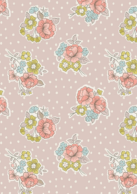 MULTI-COLORED PASTEL FLOWERS ON TAN FABRIC WITH WHITE POLKA DOTS