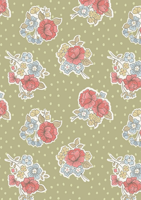 MULTI-COLORED PASTEL FLOWERS ON LIGHT SAGE GREEN FABRIC WITH WHITE POLKA DOTS
