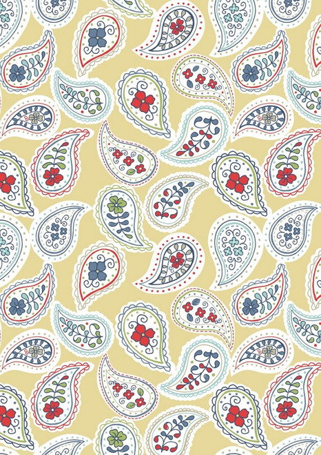 MULTI COLORED DESIGNS IN PAISLEY ON TAN FABRIC