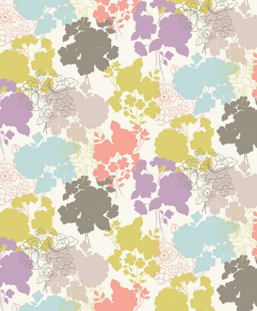 GRAYS, LAVENDER, GOLD, LIGHT BLUE AND PINK PASTEL FLORALS ON WHITE FABRIC