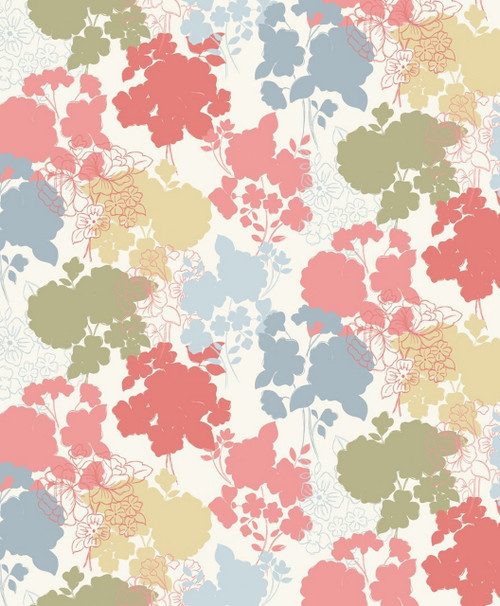 GRAYS, TAN, BLUES AND PINKS FLORALS ON WHITE FABRIC