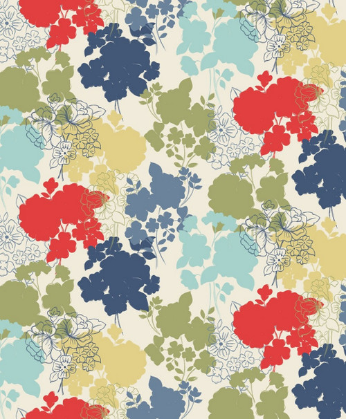 RED, OLIVE GREEN, BLUES AND TAN FLORALS ON WHITE FABRIC