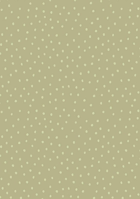 WHITE POLKA DOTS ON GREEN FABRIC