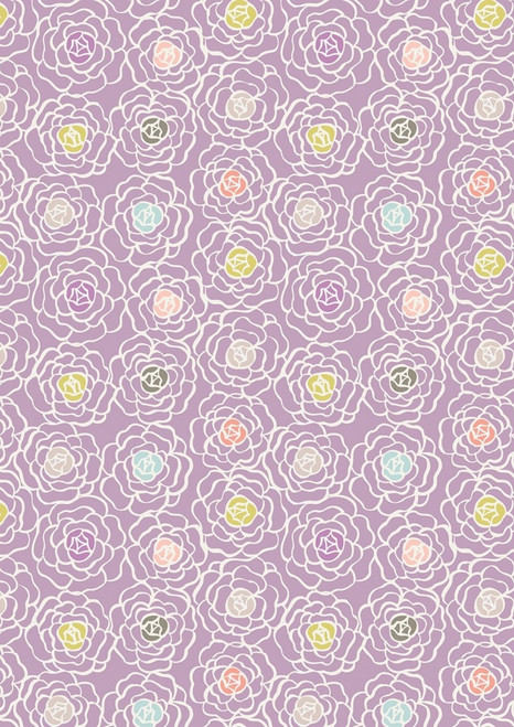 WHITE FLOWERS WITH PINK, GRAY, GOLD, LAVENDER AND BLUE CENTERS ON PURPLE FABRIC