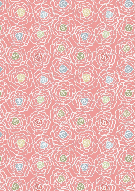WHITE FLOWERS WITH GREEN, GOLD, RED, LIGHT BLUE AND BLUE CENTERS ON PINK FABRIC