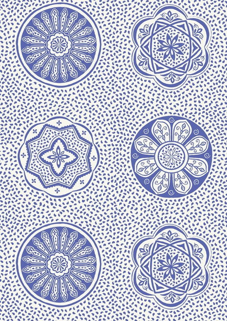 BLUE FLORAL AND GEOMETRIC DESIGNS ON WHITE FABRIC