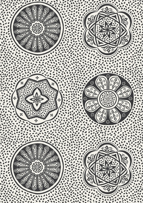 BLACK FLORAL AND GEOMETRIC DESIGNS ON WHITE FABRIC