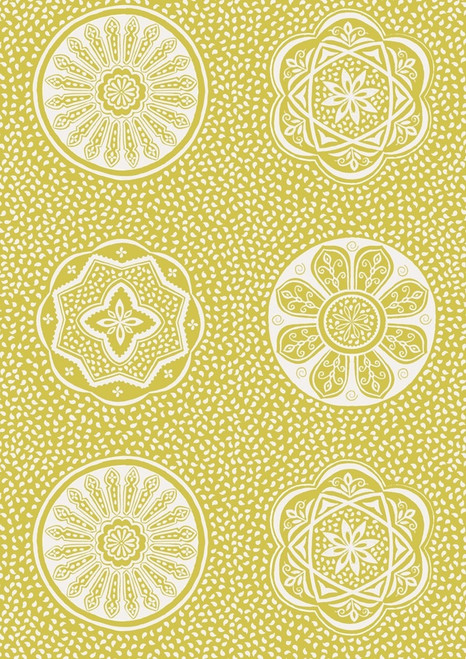 YELLOW FLORAL AND GEOMETRIC DESIGNS ON WHITE FABRIC