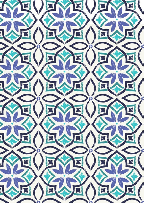 BLACK, BLUE, GREEN AND AQUA GEO-FLORAL DESIGNS ON WHITE FABRIC