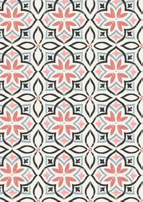 BLACK, GRAY, PINK AND SALMON GEO-FLORAL DESIGNS ON WHITE FABRIC