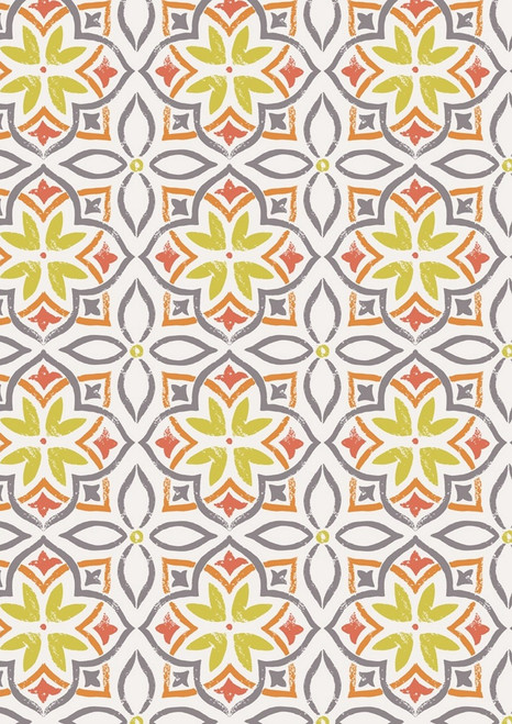 ORANGE, GRAY, RED ORANGE AND YELLOW GEO-FLORAL DESIGNS ON WHITE FABRIC