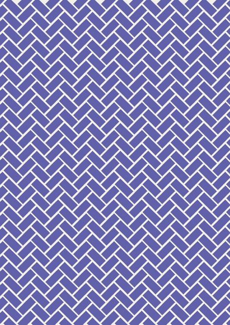 WHITE RECTANGLE/CHEVRON DESIGN ON BLUE FABRIC