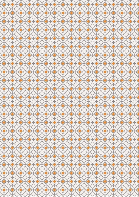 ORANGE AND GRAY DIAMONDS AND CIRCLES ON WHITE FABRIC