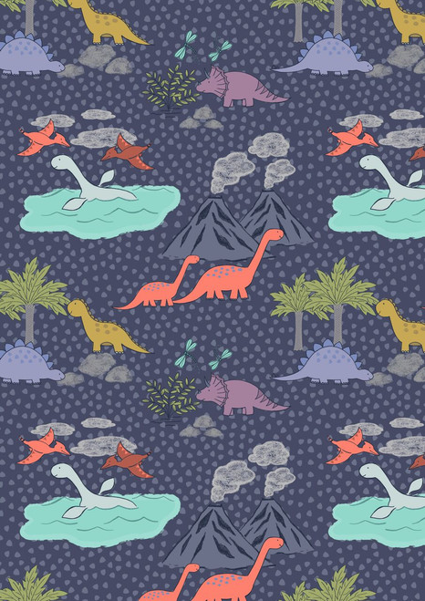 ASSORTED PASTEL DINOSAURS, BIRDS, VOLCANOES & TREES ON DARK BLUE FABRIC