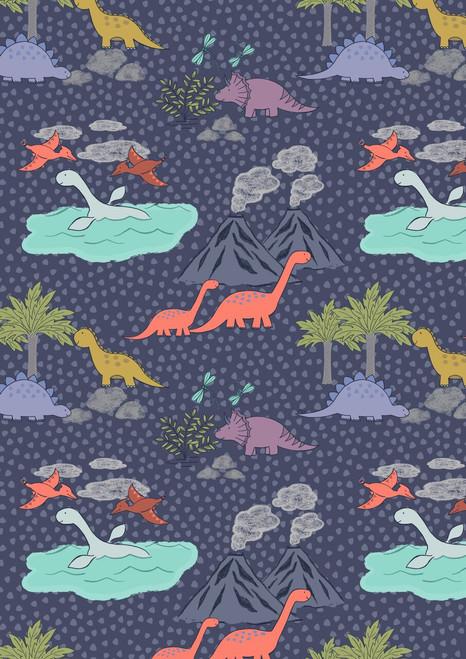 ASSORTED PASTEL DINOSAURS, BIRDS, VOLCANOES & TREES ON DARK BLUE FABRIC
