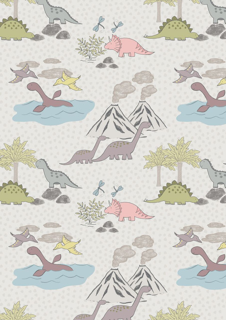 ASSORTED PASTEL DINOSAURS, BIRDS, VOLCANOES & TREES ON VERY LIGHT GRAY FABRIC