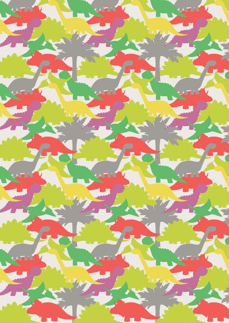 ASSORTED PASTEL COLORED DINOSAURS WITH GRAY TREES ON WHITE FABRIC