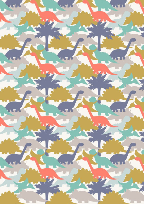 ASSORTED PASTEL COLORED DINOSAURS WITH PURPLE TREES ON WHITE FABRIC
