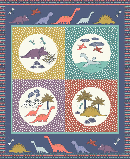 """JURASSIC COAST FOUR SCENE 36"""" PANEL WITH ASSORTED PASTEL COLORS AND DARK BLUE BORDER"""