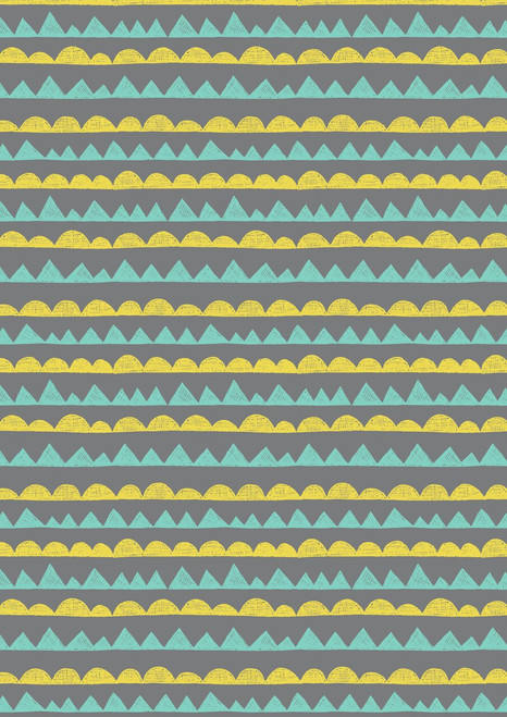LIGHT BLUE AND YELLOW GEOMETRICS ON A GRAY BACKGROUND
