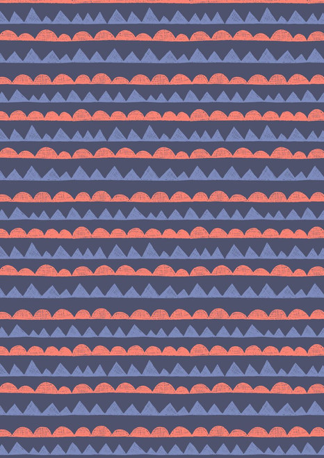 BLUE AND PINK GEOMETRICS ON A DARK BLUE BACKGROUND
