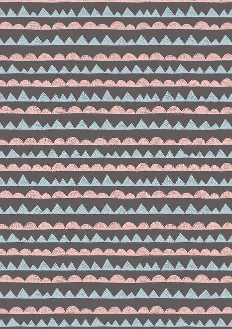 LIGHT BLUE AND LIGHT PINK GEOMETRICS ON A GRAY BACKGROUND