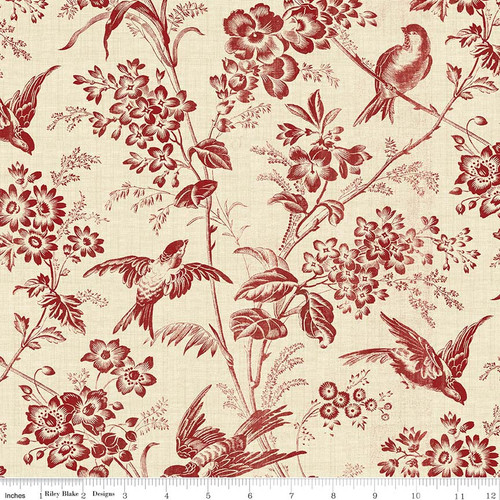 TOILE GARDEN RED FABRIC