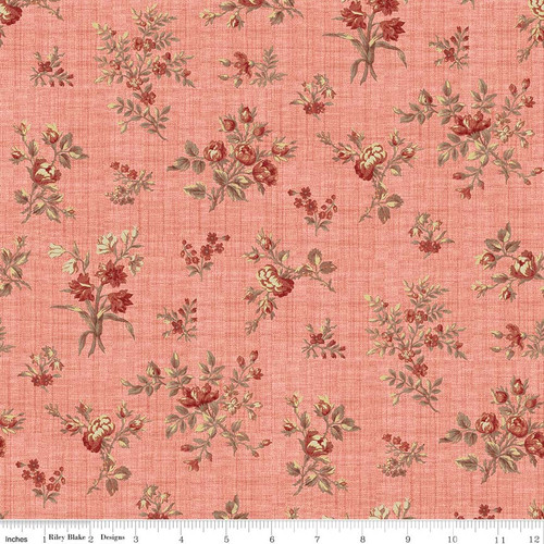 TOILE FLORAL CORAL FABRIC
