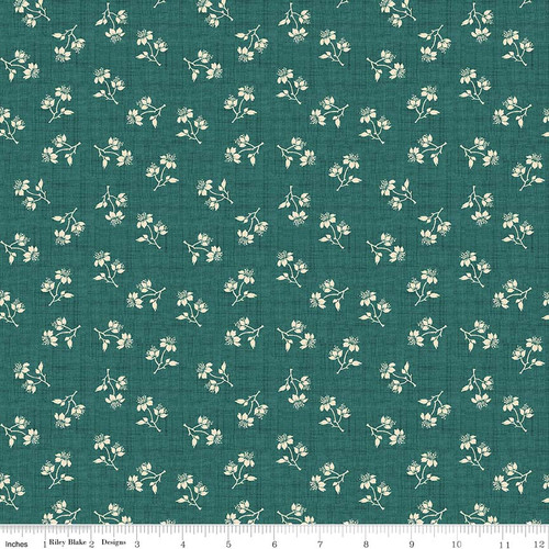 TOILE BLOSSOMS GREEN FABRIC