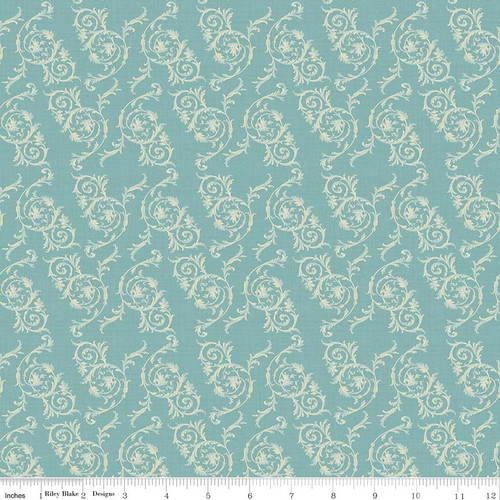 TOILE SCROLL BLUE FABRIC