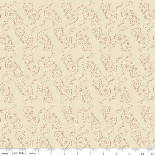 TOILE SCROLL CREAM FABRIC