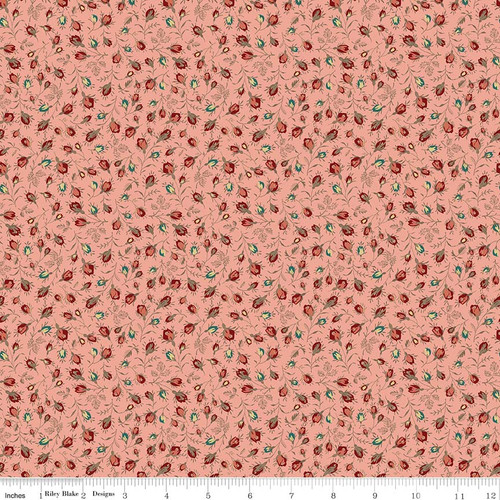TOILE ROSEBUDS CORAL FABRIC