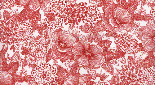 LARGE RED FLORALS ON WHITE FABRIC