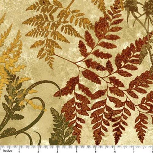 STONEHENGE ASSORTED BROWN FERN LEAVES ON TAN MARBLE FABRIC