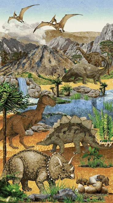 STONEHENGE DINOSAURS & ASSORTED PREHISTORIC ANIMAL SCENE PANEL