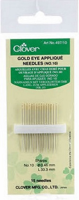 GOLD EYE APPLIQUE NEEDLES Size 10