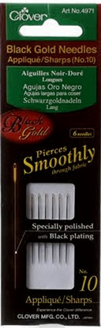 Clover 4971 Clover No.10 Needles Applique//Sharps Black//Gold