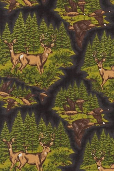 DEER AND GEESE ON EVERGREEN BACKGROUND FABRIC