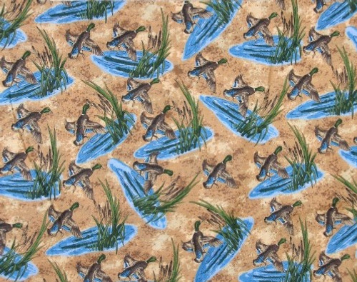 GEESE AND WATER SCENE ON TAN BACKGROUND FABRIC