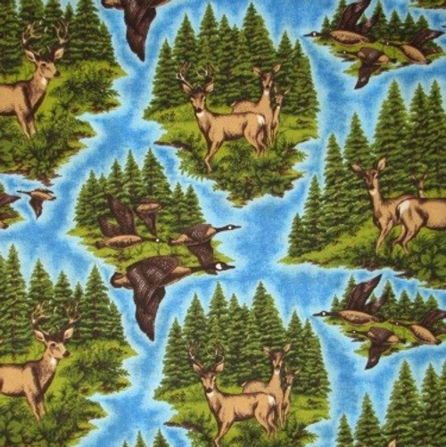 DEER AND GEESE ON BLUE BACKGROUND FABRIC