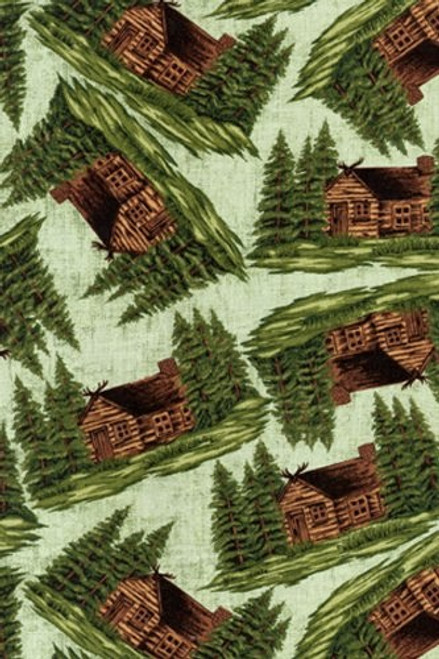 CABIN SCENE WITH EVERGREENS ON LIGHT BLUE GREEN BACKGROUND