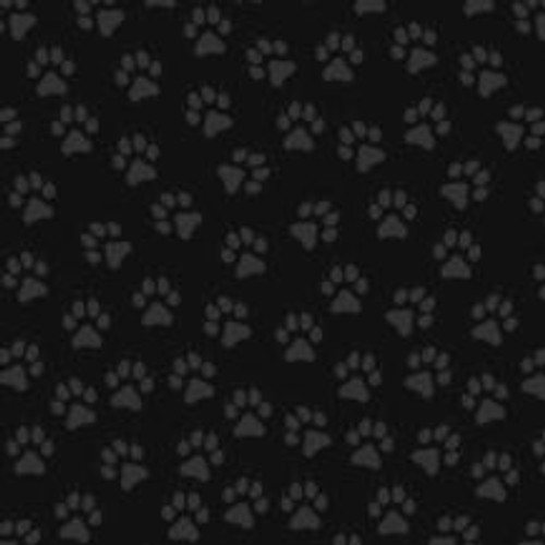 GRAY PAW PRINTS ON BLACK FABRIC