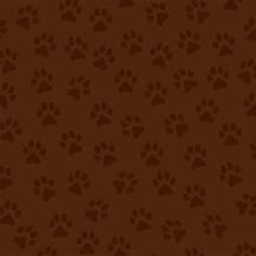 BROWN ON BROWN PAW PRINTS FABRIC